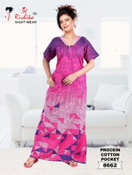 Long Cotton Proceian Printed Nightgown With Pocket