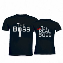 Black Cotton Designer Couple T Shirt