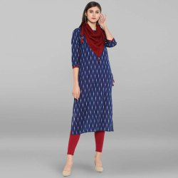 Blue Pure Cotton Kurta with Scarf(JNE2145)