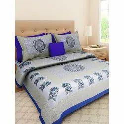 Sanganeri Cotton Blue Bedsheets