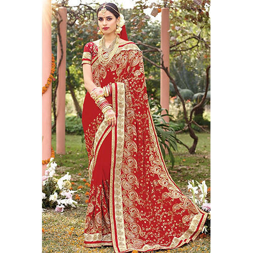 ffca90aec7 Red Zardozi Work Designer Bridal Saree, With Blouse Piece, Rs 1300 ...