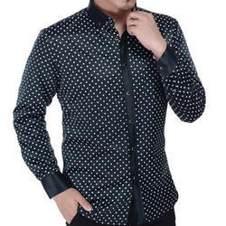 Mens Satin Casual Dotted Shirt