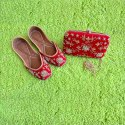 Red Fancy Jutti With Matching Clutch