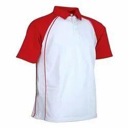 White, Red Cotton Men's Collar T Shirt