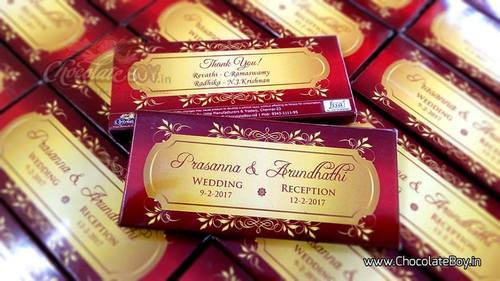 Personalized Chocolate Box With Bar For Wedding Red Theme