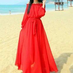 Red Plain Women Fashion Long Maxi Sleeve Dress