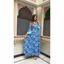 Ladies Blue Floral Printed Long Kurti