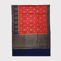 Red & Blue Silk Saree