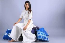 Bagru Daabu Print Indigo Tussle Stole 100% Cotton Slub Linen White Daabu Edges Pattern Jaipur Kurta
