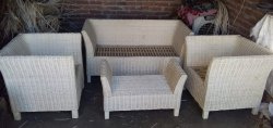 White Rectangular Wicker Sofa Set, For Home