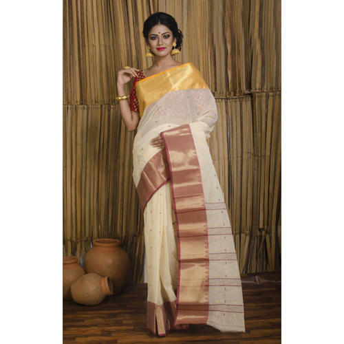 ea10efe87a Bengal Handloom Cotton Saree in Off White with Ganga Jamuna Border ...