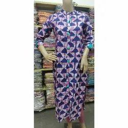 Straight 3/4th Sleeve Casual Wear Cotton Kurti, Size: XL