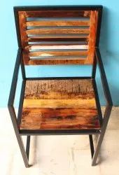 MS Iron and Reclaimed Wood Top Dining Chair, Size: 45x45x85 cm