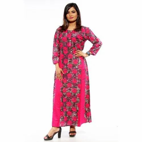 Stretchable Pink Ladies Ankle Length Printed Cotton Kurti, Age Group: 18-40 Years