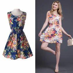 Polyester Blue Flower Printed Western Dress
