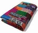 Quilt Bedcover Bedspread Kantha Quilt Indian Bedding Silk Patola