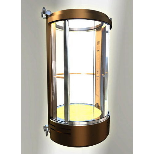 Mild Steel And Wood Circular Glass Lift G 4 Maximum Person 4 28