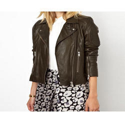 Zipper Ladies Leather Jacket