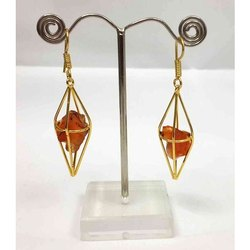 Gemstone Pointed, Cornolian Rough Stone Earrings
