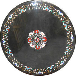 Black Marble Inlay Table Top