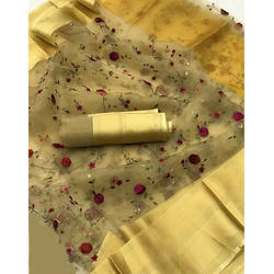 Ladies Net Golden Embroidered Saree, Length: 6 m