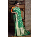Pure Handloom Tussar Banarasi Saree In Green And Muted Gold
