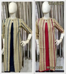 Silk Designer attached jacket  Kurta