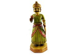 Handmade Handpainted Indian Village Man Resin Figurine Sculpture
