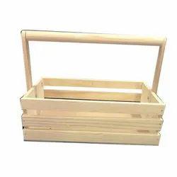 Natural Rectangular Wooden Gift Basket, Size: 10*8*4 Inch