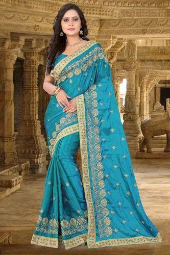 7df2b29ae2 Fancy Saree - Paper Silk Designer Pallu Embroidered Work Blue Color ...