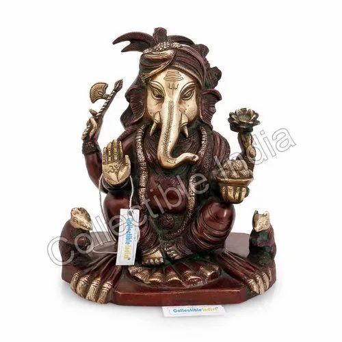 Brass Elephant Husk Door Handle Lord Ganesha Statue Figurine Unique Gift Decor