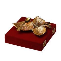 Gold Plated Grape Three Leaf Platter