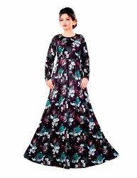 Tropical Floral Long Printed Anarkali Maxi Gowns Dress for Women