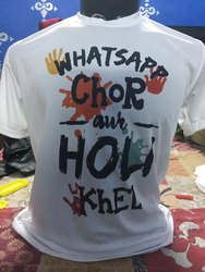 Polyester White Holi T Shirt, Age Group: Small To Xxl