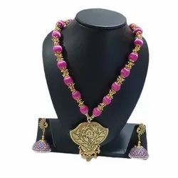 Silk Thread Necklace With Earring Set
