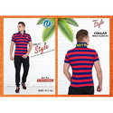 Double Striped Polo T Shirt