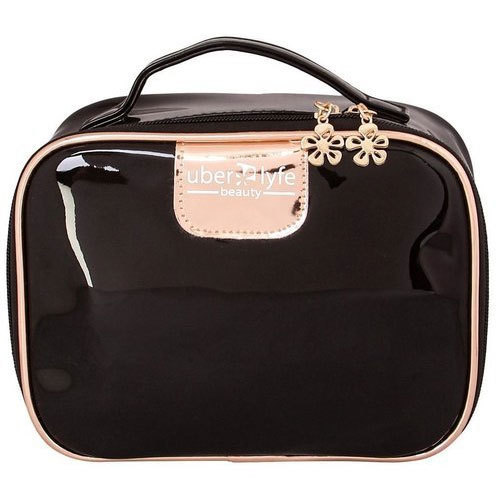 Uberlyfe Black Travel Cosmetic Pouch Makeup Size Dimension 20 X 15