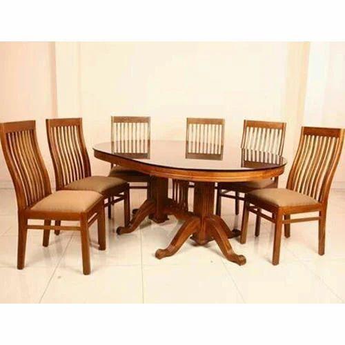 Brown Teak Wood Dining Table Set Rs 85000 Set Hukam Handicrafts Id 17842927362