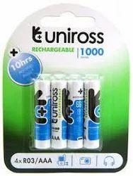 AA Uniross Rechargeable Batteries, Capacity: 1000 Mah, Voltage: 1.2