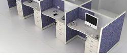 White Linear Modular Office Set
