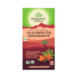 Organic India Tulsi Pomegranate Green Tea, Leaves, Packaging Type: Box