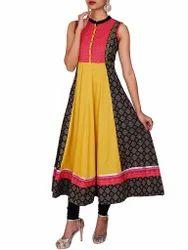Black, Yellow & Peach Cotton Jacquard Sleeveless Anarkali Kurti