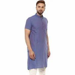 Party Wear Plain NN072 Men Cotton Long Kurta, Size/Dimension: S-XXL