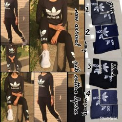 Cotton Black Adidas Track Suit