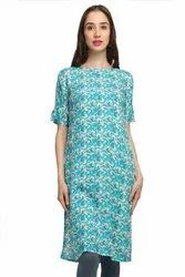 Neels Printed Blue Boat Neck Straight Fit Rayon Kurta