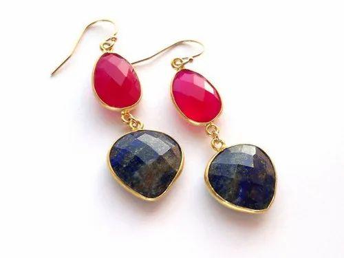 Double Gemstone Earrings Lapis Lazuli Earrings