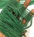 Natural Zambian Green Emerald Gemstone Faceted Rondelle Beads Strand