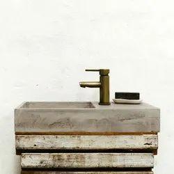 Grey Table Mount Designer Concrete Wash Basin, For Bathroom