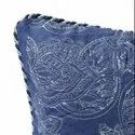 16 X 16 Inch Navy Paisley Uni Embroidery  Cushion Cover