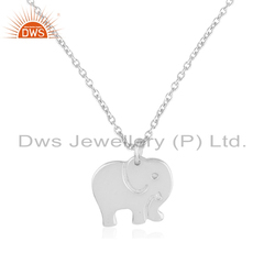 Fine Silver Enchanting Elephant Shaped Chain Pendant Jewelry
